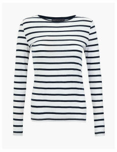 M&S Collection Pure Cotton Striped Long Sleeve Top