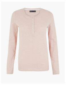 M&S Collection Pure Cotton Henley Ribbed Long Sleeve Top