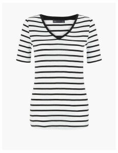 M&S Collection Pure Cotton Striped Regular Fit T-Shirt