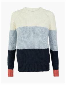 M&S Collection Pure Cotton Colour Block Jumper