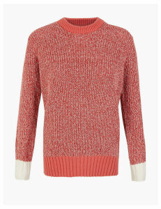 M&S Collection Cotton Textured Round Neck Jumper