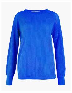 GOODMOVE Open Knit Panelled Sweatshirt