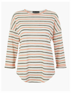 M&S Collection Striped Straight Fit Top with Linen