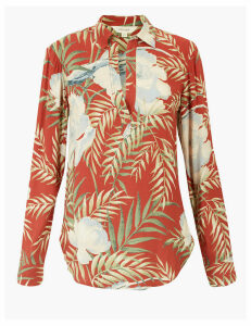 Per Una Floral Collared Popover Long Sleeve Shirt