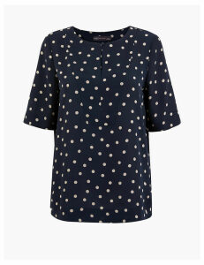 M&S Collection Polka Dot Bib Front Blouse