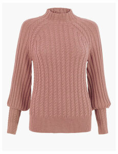 Per Una Cable Knit Textured High Neck Jumper