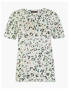 M&S Collection Relaxed Fit Animal Print T-Shirt