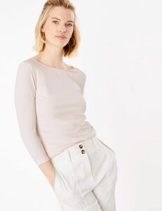 M&S Collection Cotton Fitted 3/4 Sleeve Top