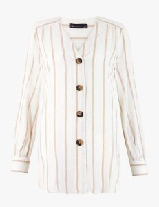 M&S Collection Linen Rich Striped Longline Blouse