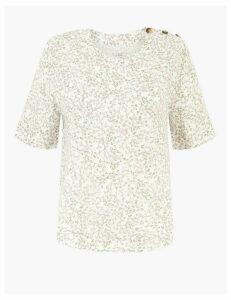 M&S Collection Pure Linen Floral Print Woven Blouse