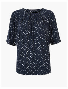 M&S Collection Printed Relaxed Short Sleeve Top