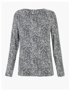 M&S Collection Printed Cowl Neck Long Sleeve Top