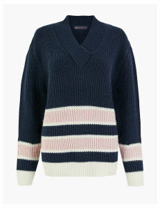 M&S Collection Striped V-Neck Relaxed Fit Jumper