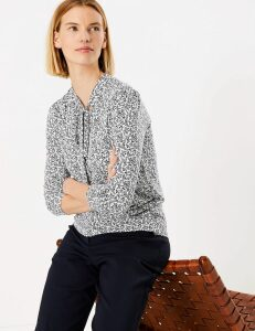 M&S Collection Floral Pussybow Long Sleeve Top