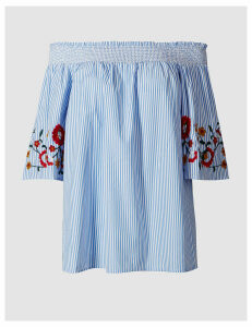 M&S Collection Embroidered Sleeve Striped Bardot Top