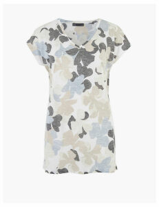 M&S Collection Floral V-Neck Relaxed Longline T-Shirt