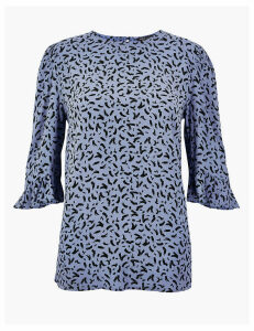 M&S Collection Printed 3/4 Sleeve Blouse
