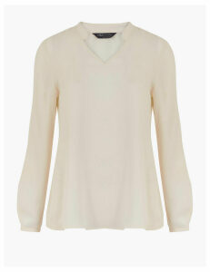 M&S Collection V-Neck Long Sleeve Popover Blouse