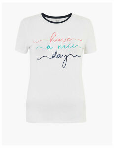 M&S Collection Cotton Rich Slogan Fitted T-Shirt