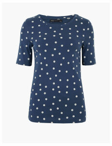 M&S Collection Pure Cotton Polka Dot Regular Fit T-Shirt