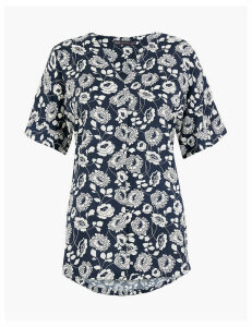 M&S Collection Floral Print Longline Blouse