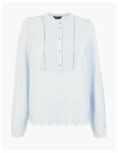 M&S Collection Cotton Broderie High Neck Blouse