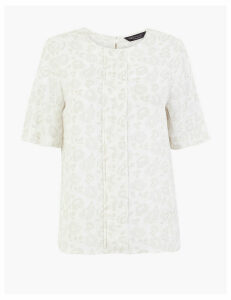 M&S Collection Floral Pleat Front Short Sleeve Blouse