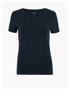M&S Collection Cotton V-Neck Fitted T-Shirt