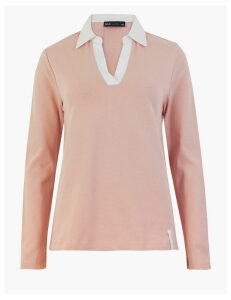 M&S Collection Pure Cotton Collared Rugby Long Sleeve Top