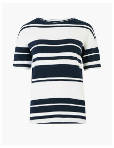 M&S Collection Pure Cotton Striped Straight Fit Top