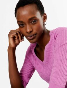 M&S Collection Textured V-Neck Knitted Top