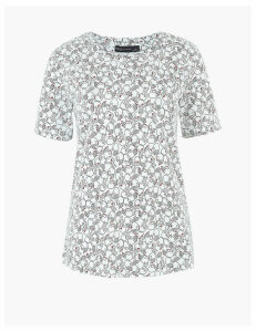 M&S Collection Cotton Hands Print Straight Fit T-shirt