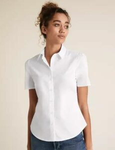 M&S Collection Cotton Tailored Fit Puff Short Sleeve Shirt