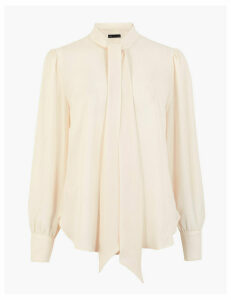 M&S Collection Pussybow Long Sleeve Blouse