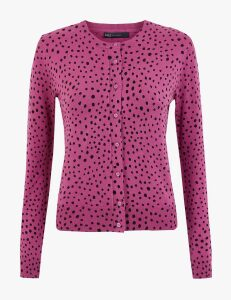 M&S Collection Polka Dot Crew Neck Cardigan