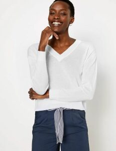 M&S Collection Pure Cotton Relaxed Fit V-Neck Jumper