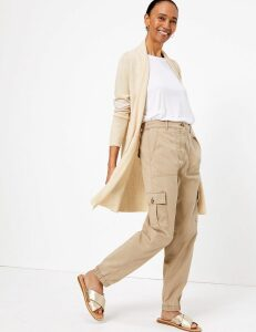 M&S Collection Waterfall Longline Cardigan with Linen
