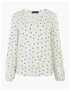 M&S Collection Polka Dot Tie Neck Relaxed Long Sleeve Top