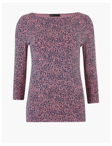 M&S Collection Cotton Rich Animal Print Fitted Top