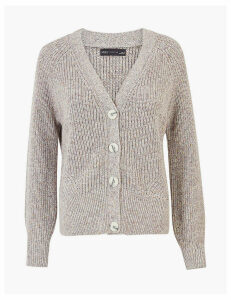 M&S Collection Pure Cotton Ribbed Relaxed Fit Cardigan