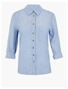 M&S Collection PETITE Pure Linen 3/4 Sleeve Shirt