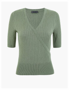 M&S Collection Knitted V-Neck Mock Wrap Top