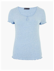 M&S Collection Ribbed Scoop Neck Short Sleeve Top