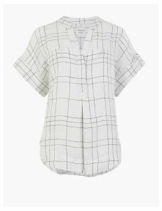 M&S Collection Pure Linen Checked Relaxed Popover Blouse
