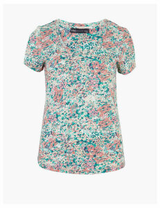M&S Collection Pure Cotton Printed Scoop Neck Top