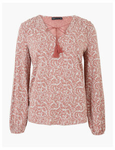 M&S Collection Floral Tie Neck Relaxed Long Sleeve Top