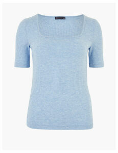 M&S Collection Ribbed Square Neck Short Sleeve Top
