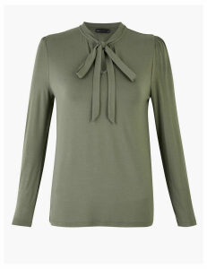 M&S Collection High Neck Pussybow Long Sleeve Top