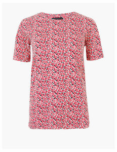 M&S Collection Pure Cotton Ditsy Floral Straight Fit T-Shirt