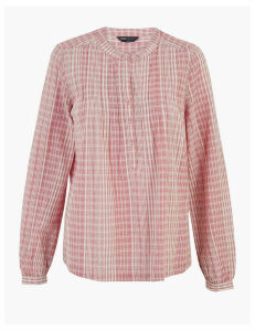 M&S Collection Cotton Striped Long Sleeve Popover Blouse